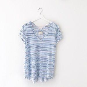 Anthropologie T.La Blue White Striped Tillie Shirt